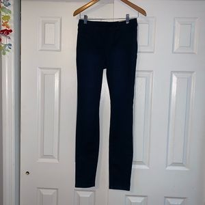Dark Blue Mid Rise Pull on Legging elastic waist